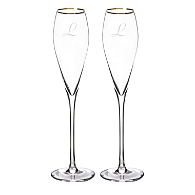Cathy's Concepts Personalized Gold Rim Champagne Flutes (Set of 2), Letter L