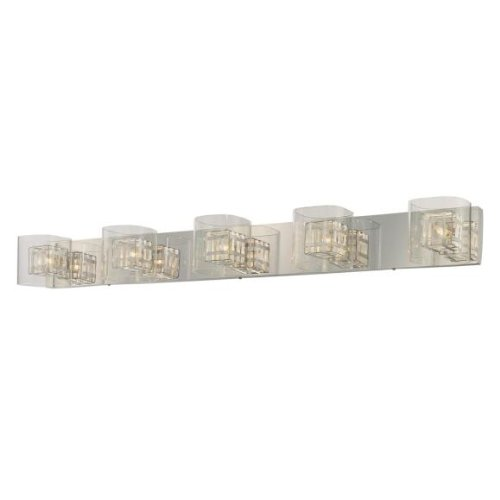 Five Bar Light Bath - George Kovacs P5805-077, Jewel Box, 5 Light Bath Bar, Chrome