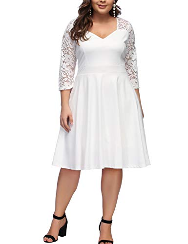 FeelinGirl Women's Plus Size V-Neck Stitching Lace Plus Size Dress White 4XL