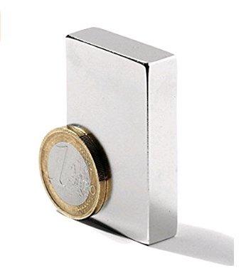 OP H 1/pcs carr/é en n/éodyme fer Bore Aimant tr/ès puissant Aimant en n/éodyme Bloc Code N52/50/mm x 25/mm x 10/mm