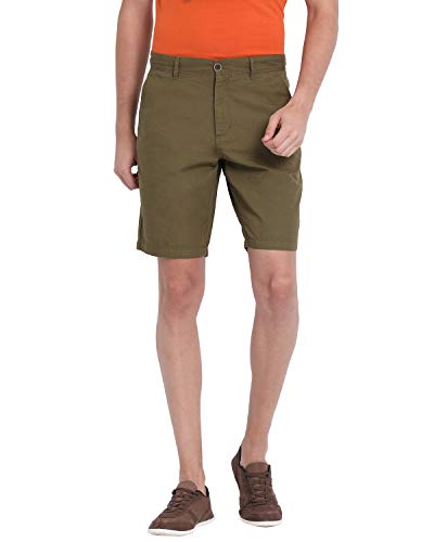 t base Olive Cotton Solid Chino Shorts   Shorts for Man