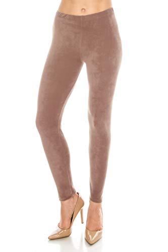 ALWAYS Women Stretch Velvet Leggings - Premium Soft Velour Warm Winter Solid Basic Pants Mauve ()