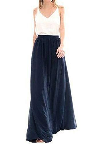 Omelas Womens Long Floor Length Tulle Skirt High Waisted Maxi Tutu Party Dress (Navy Blue, XS)