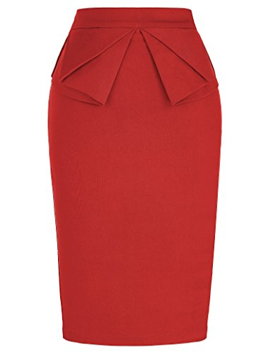 (PrettyWorld Vintage Dress 50s Vintage Pencil Skirt for Women Knee Length Party Cocktail KL-2 CL454,Cl454-red,X-Large)