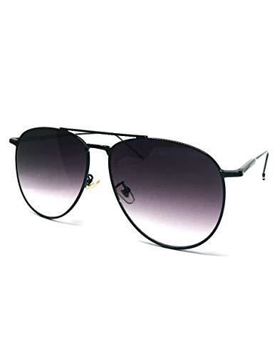 O2 Eyewear 97025 Premium Oversized Flat Aviator Mirrored Sunglass Womens Mens (METAL, OMBRE BLACK)