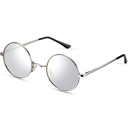FEIDU-Men Round Retro Polarized Sunglasses Women Vintage Sunglasses FD3013 (Silver/Silver, 1.81)]()