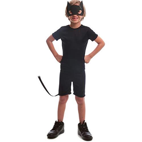 Fantasia de Halloween Infantil Masculina Animais Gato Preto Curta M 5-8