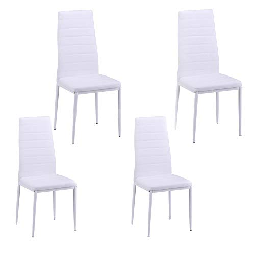 Merax Set of 4 Dining Room Chairs PU Leather Home Furniture Kitchen Side Chairs (White) by Merax (Image #1)