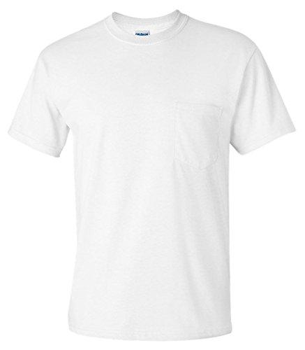 Gildan Adult Seamless Chest Pocket Comfort jersey T-Shirt, White, XL (Pack of 6)