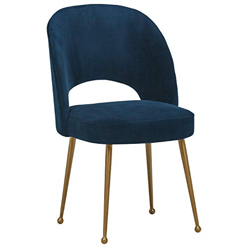 Rivet Dining Room Kitchen Chair Open Back, 43 Inch Height, Navy Blue (Dining Blue Velvet Chairs)