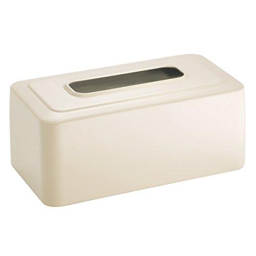 InterDesign Facial Cover/Holder for Bathroom Vanity Counter Tops-White Olivia Tissue Box, Matte Vanilla