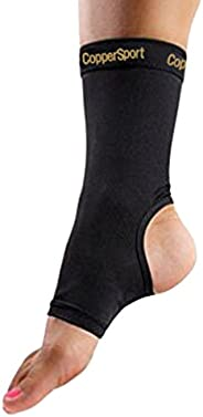 CopperSport Copper Compression Ankle Sleeve Support - Suitable for Athletics, Tennis, Golf, Basketball, Sports