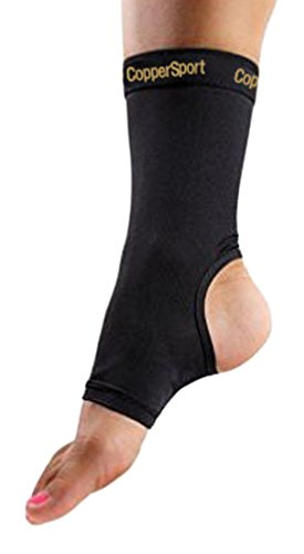 CopperSport Copper Compression Ankle Sleeve Support – Suitable for Athletics, Tennis, Golf, Basketball, Sports, Weightlifting, Joint Pain Relief, Injury Recovery (Single Sleeve), Black, Medium
