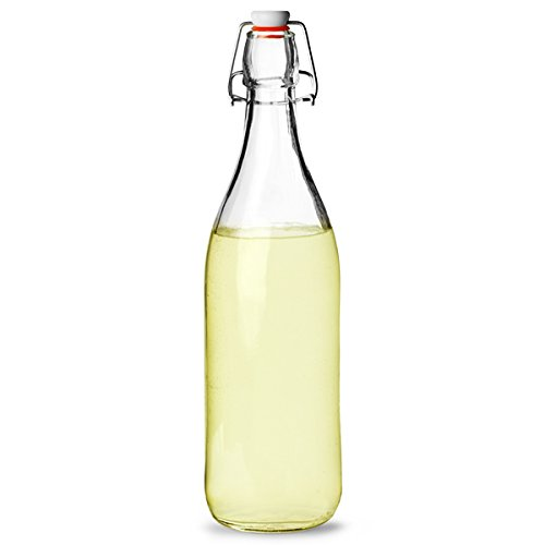 Bormioli Rocco Glass Swing Top Bottle 1ltr - Set of 6 - Serving Bottle with Air-Tight Rubber Seal