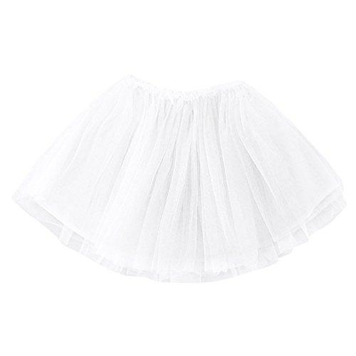 Birdfly Toddler Baby Girls Classic Ballerina Tutu Skirt Solid Tulle Dress Kids Infant Clothes (18M, White)