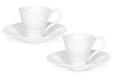 Sophie Conran by Portmeirion Espresso Cups and Saucers, Set of 2, White -