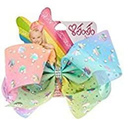 Jojo Siwa Exclusive Hair bow Chasing Unicorns Pastel Rainbow Rhinestone