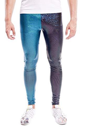 Kapow Meggings Men's Metallic Range Leggings - Holographic, Wet Look & Glitter(Equinox Half & Half, Small) (Best Clothes For Burning Man)