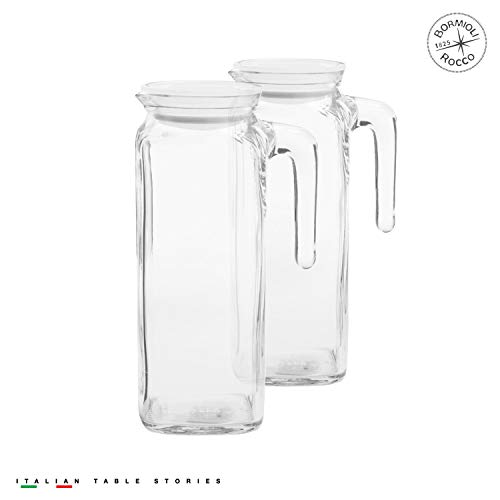 Set Jug (Bormioli Rocco Glass Frigoverre Jug With Airtight Frosted Lid (1 Liter) set of 2: Clear Pitcher With Hermetic Sealing, Easy Pour Spout & Handle – For Water, Juice, Iced Coffee & Iced Tea)