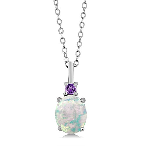 (1.66 Ct Oval Cabochon White Simulated Opal Purple Amethyst 925 Sterling Silver Pendant)
