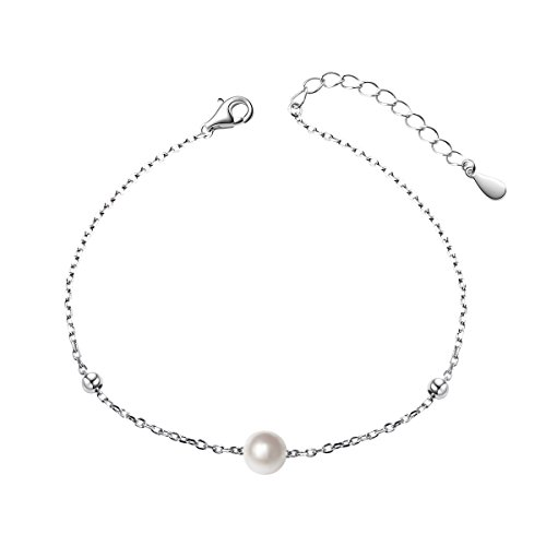 (S925 Sterling Silver 6mm Single Freshwater Cultured Pearl Bracelet for Women, 7