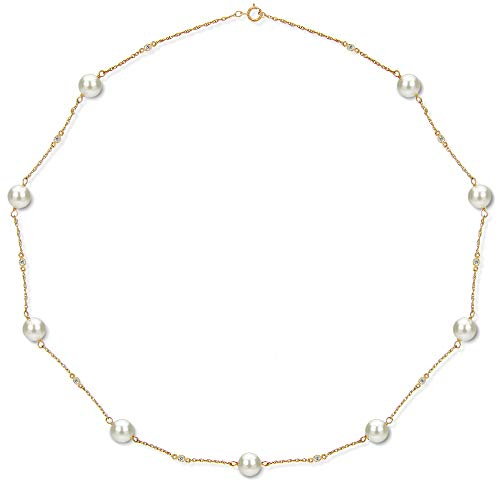 Tin Cup Station Necklace 14K Yellow Gold with Cultured Freshwater White Pearl and .30cttw Diamond