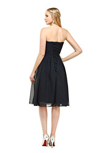 Bbonlinedress Vestido De Noche Sencillo Elegante Corto De Gasa Escote Corazón Negro