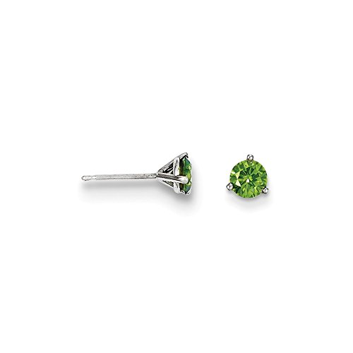 14k .75ct Green Diamond Stud Earrings, 14 kt White (0.375 Ct Round Diamond)