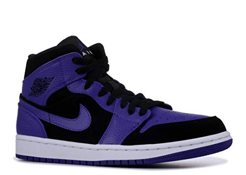 Jordan Mens AIR 1 MID Black Dark Concord White Size 7.5