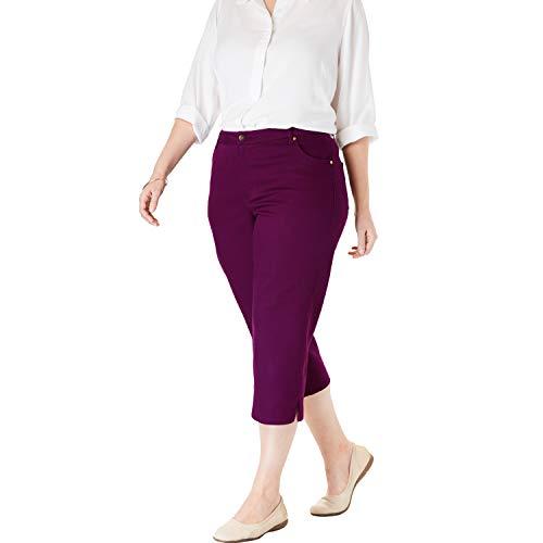Woman Within Women's Plus Size Capri Stretch Jean - Dark Berry, 26 W