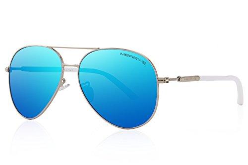 MERRY'S Men's Polarized Driving Sunglasses For Men Women Mirror Sun glasses UV400 S8058 (Blue, - For Oval Face Aviators Best