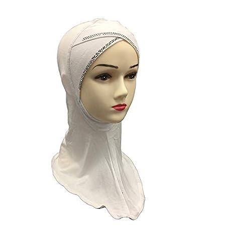 Party Girls S Moda Strass Decorato Semplice Croce Musulmano Arabo Cotone Testa Sciarpe Beige Beige 30 x 40 cm