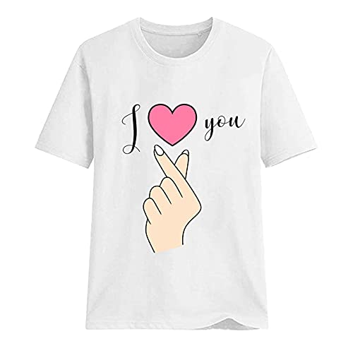 Balakie Women's Cute Heart-Shape Graphic T Shirts Letter Print Short Sleeve O Neck Summer Casual Cotton Tees Tops