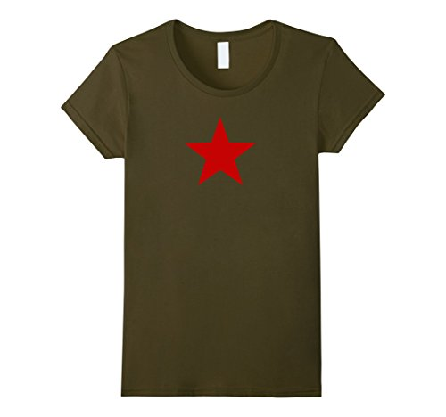 Womens Vintage Soviet Union CCCP USSR Red Star Tee Small Olive