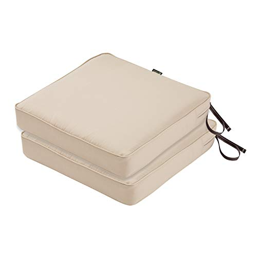 (Classic Accessories Montlake FadeSafe Patio Seat Cushion, 2-Pack, Antique Beige, 19