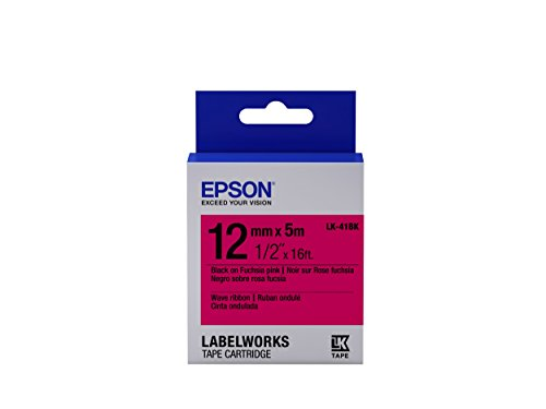 "Epson LabelWorks Wave Ribbon LK (Replaces LC) Tape Cartridge ~1/2"" Black on Fuchsia pink (LK-41BK) - For use with LabelWorks LW-300, LW-400, LW-600P and LW-700 label printers"