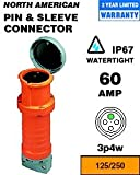 Leviton 460C12W Pin & Sleeve Connector 60 Amp 125/250 Volt 3P 4W NA-Rated - Orange