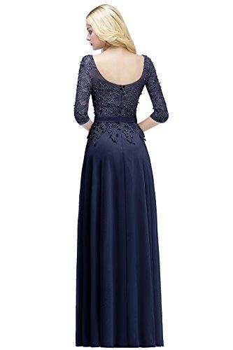 32 46 Navyblau Babyonlinedress Lang 3 Arm Abendkleider mit Perlen Damen Chiffon Spitzenkleider 4 qqPxvw71