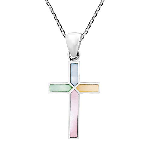 - AeraVida Cross of Faith Inlaid Multicolor Mother of Pearl .925 Sterling Silver Pendant Necklace