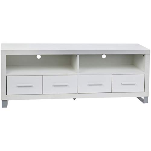 Rockpoint Cosmopolitan 60-Inch TV Stand Media Console with Metal Legs, Snow White ()