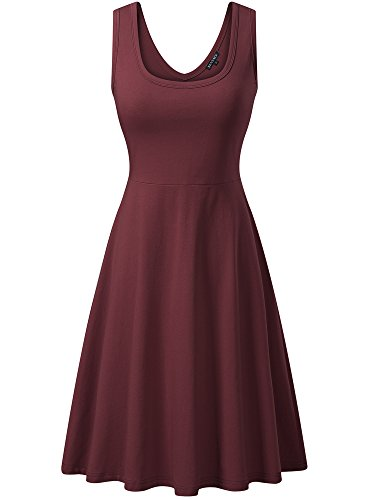 FENSACE Womens Sleeveless Summer Beach Knee Length Dress, Bordeaux, XX-Large ()