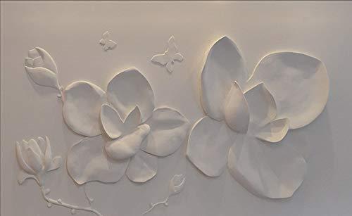 YOUMAN Custom 3D Flower Wallpaper Photo Mural Non-Woven Floral Embossed Magnolia Home Decor for Living Room TV Background