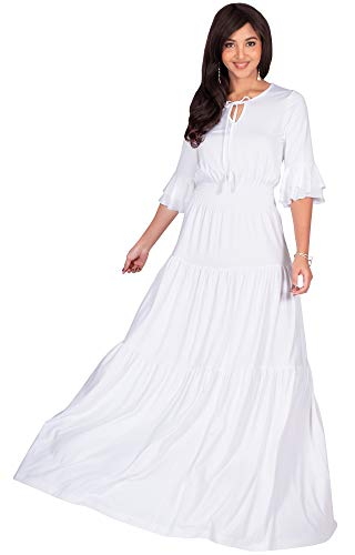 White Peasant Dresses - KOH KOH Plus Size Womens Long Boho Bohemian Casual Vintage Solid Casual A-line 3/4 Sleeve Peasant Maternity Flowy Empire Waist Loose Floor Length Cute Maxi Dress Gown, Ivory White 2XL 18-20