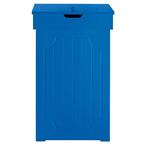 BrylaneHome Cottage Kitchen Trash Can (Lapis Blue,0) For Sale