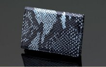 SIGLO GREY LEATHER ANACONDA SNAKE SKIN PRINT BUSINESS CARD CASE