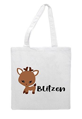 Bag White Reindeer Blitzen Character Christmas Festive Names Shopper Tote wnRgYTqn