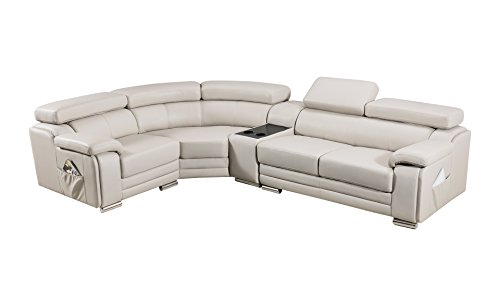 American Eagle Furniture Daphne Collection Modern Top Grain Leather Sectional Sofa With Chaise on Left, Adjustable Headrests, Light - Sectional American Leather