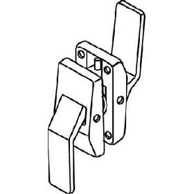 Trimco 1581A Push/Pull Hospital Latchset, 5'' latch, ''T'' Strike - Push Lever Down, Pull Lever Up, Right Hand Swinging In ''Hinge Side'', Satin Chrome Plated Over Nickel … by Trimco Hospital Latches
