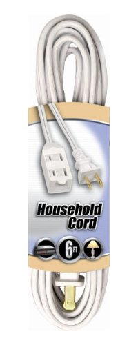 Coleman Cable 09411 16/2 SPT-2 3-Outlet Cube Tap Extension Cord with Safety Cover, White, 6-Feet