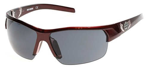 n's Winged B&S Sunglasses, Shiny Burgundy Frame & Smoke Lens (Harley Davidson Prescription Sunglasses)
